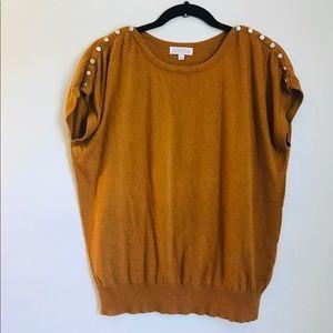 Joseph A. short sleeve mustard color sweater